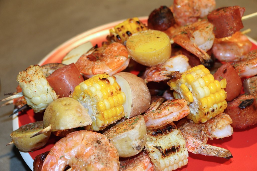 cajun shrimp and sausage skewers