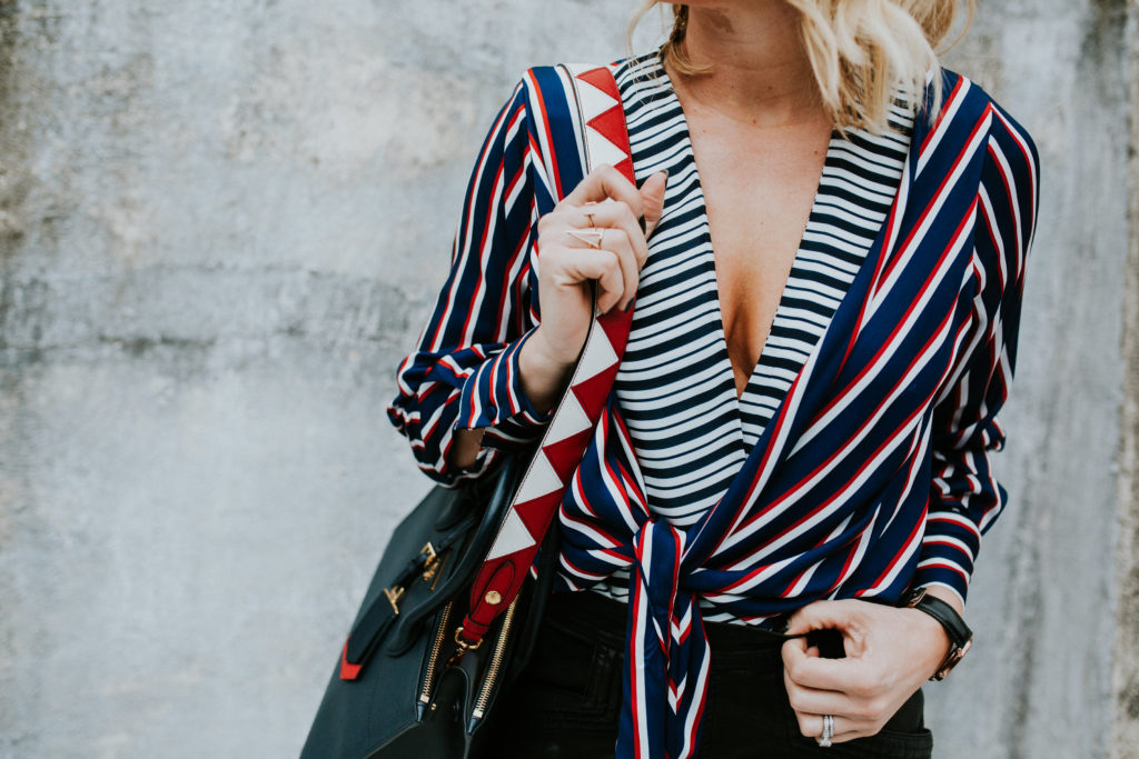 Zara STRIPED BODYSUIT WITH FRONT KNOT